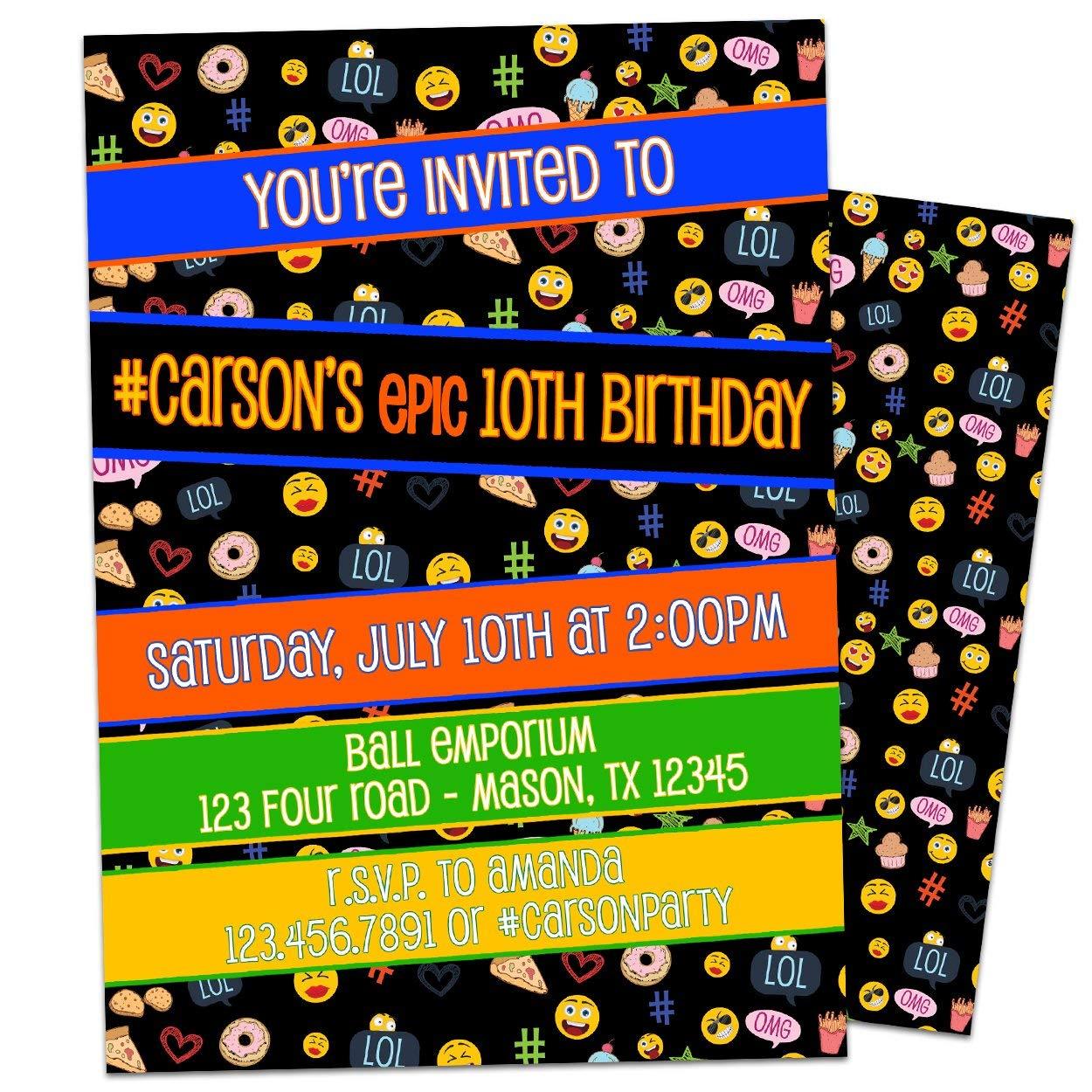 Amazon Emoji Birthday Invitations Boy Girl Personalized Smiley Hashtag Handmade