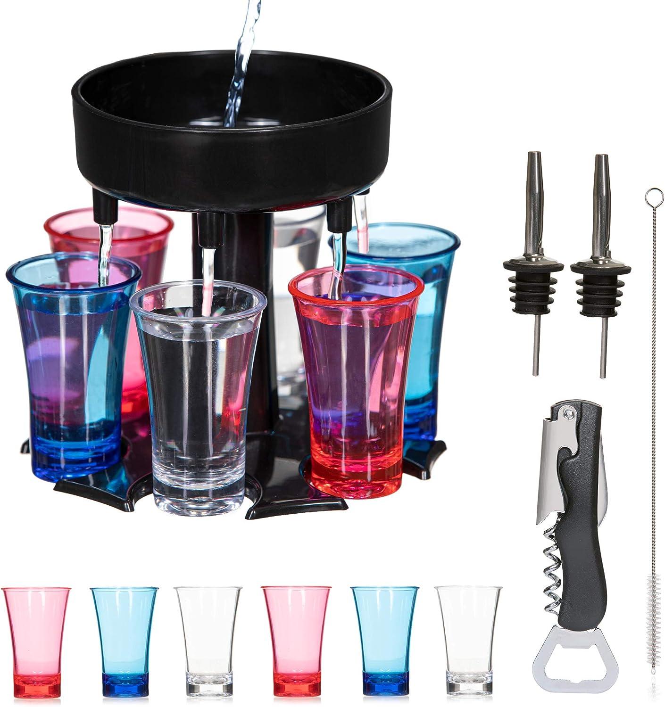 Kitchen Strong Shot Dispenser and Holder - 6 Shot Glass Liquor Dispenser - Beverage and Alcohol Dispenser - Includes Bottle Opener and Pourers - Home Bar Dispenser for Drinking Games, Parties – Black