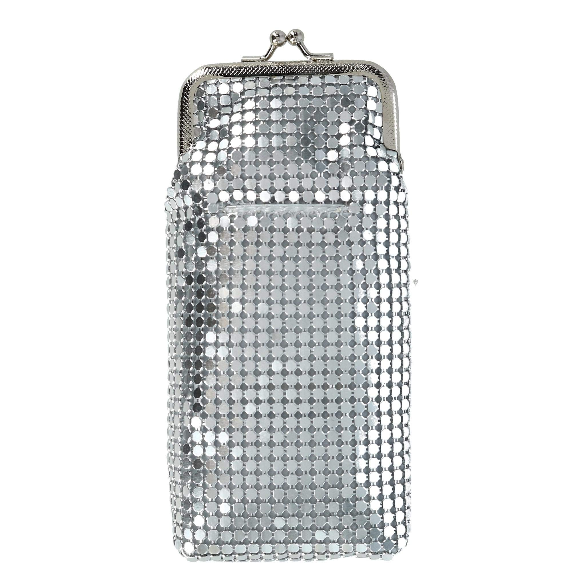 CTM Women's Mesh Cigarette Case with Lighter Pocket and Kiss Lock Closure, Silver
