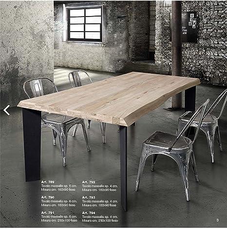 TABLES&CHAIRS tavolo legno massello spessore 6 cm fisso e gambe in ...
