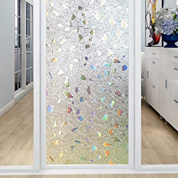 Coavas 3D Window Film Privacy Window Decor Anti-UV Glass Film Colorful  Glass Film Transparent