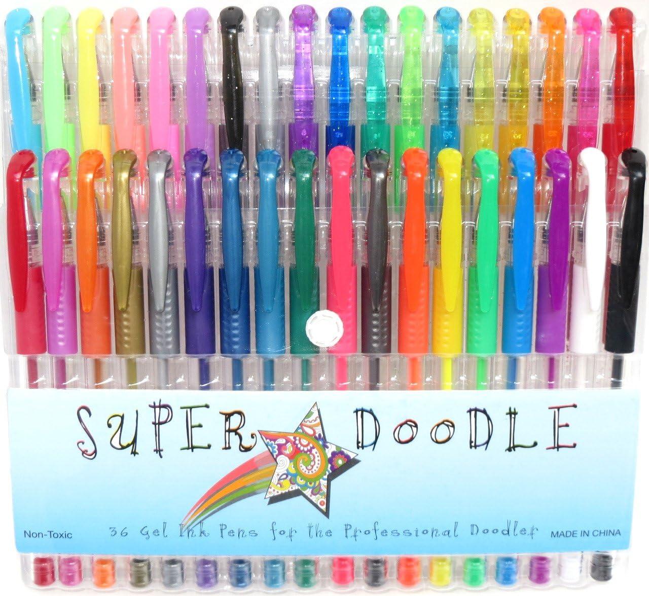 Super Doodle 36 Color Gel Pen Set – artista calidad bolígrafos de gel con Confort Grip para Colorear y para manualidades – Purpurina, metálico, neón, y colores pastel: Amazon.es: Juguetes y juegos