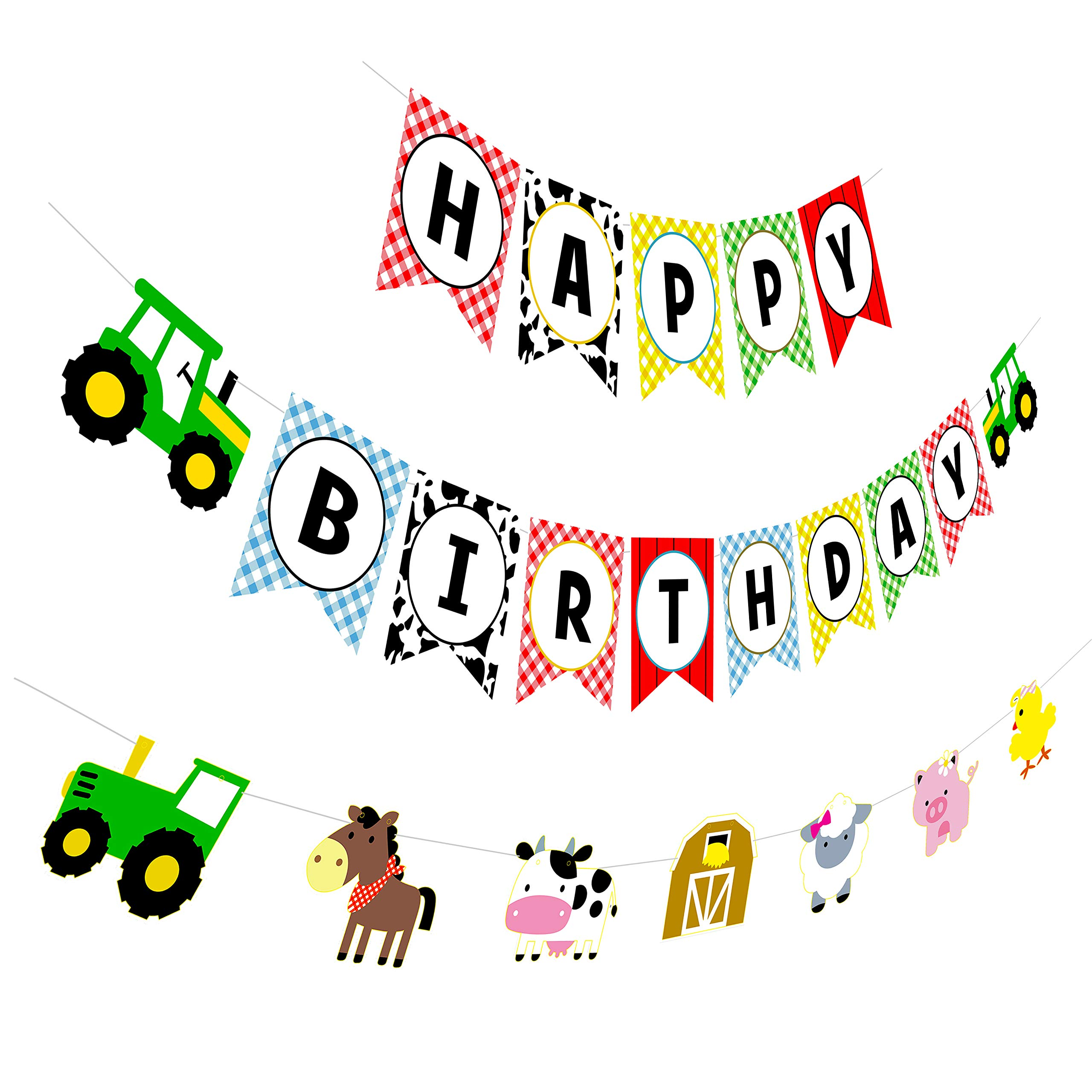 2b9dfe0f0 Farm Birthday Banner, Tractor Happy Birthday Sign with Animal Garland,  Rustic Bday Party Decorations