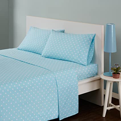 Mi Zone Polka Dot Full Bed Sheets, Casual 100% Cotton Bed Sheet,