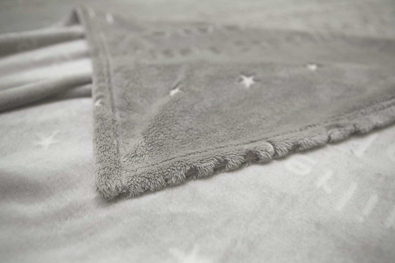 Zollner® plaid morbidissimo coperta per il divano grigia in pile