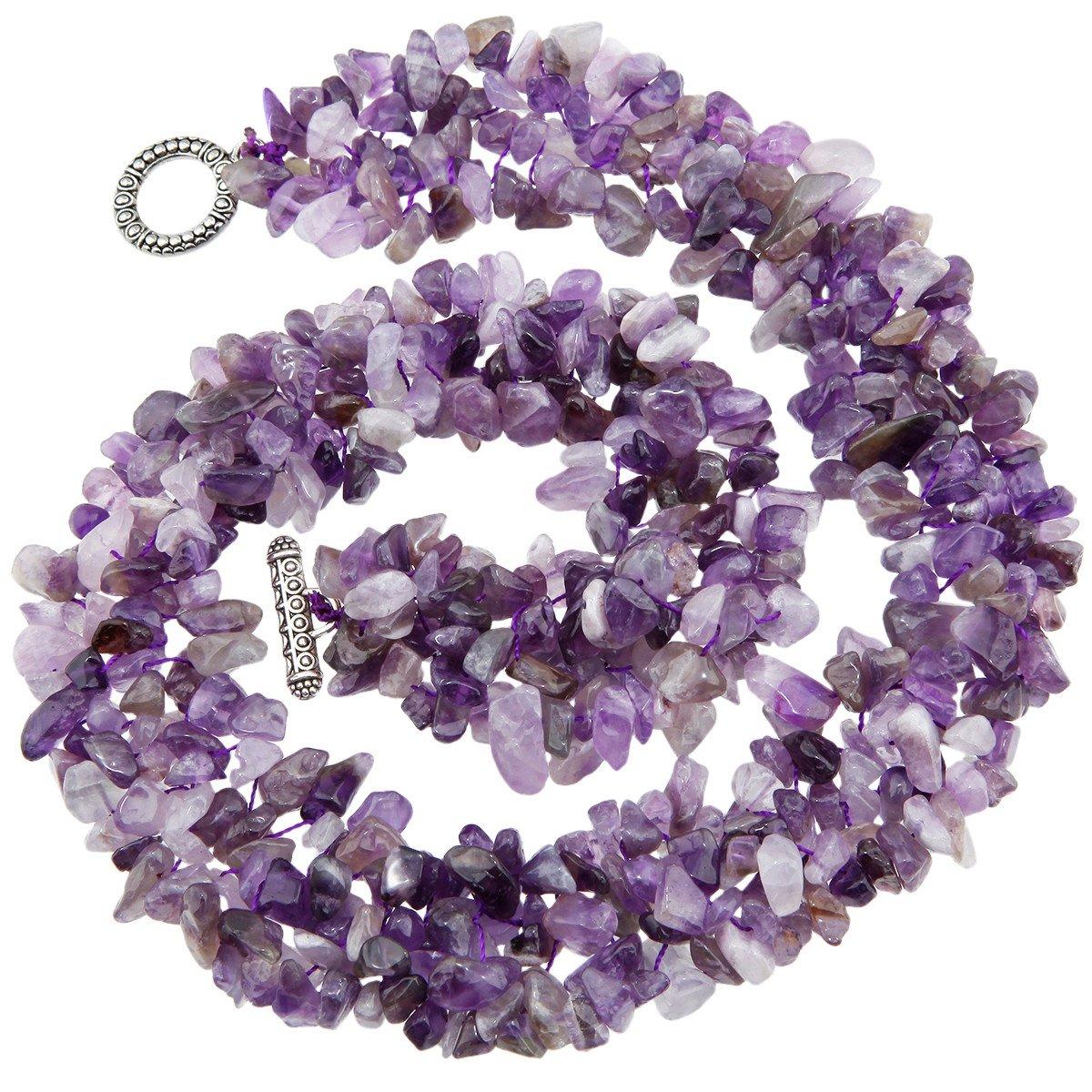 SUNYIK Purple Amethyst Tumbled Stone Bib Necklace Collar Choker Strands 17.5 inches by SUNYIK (Image #3)