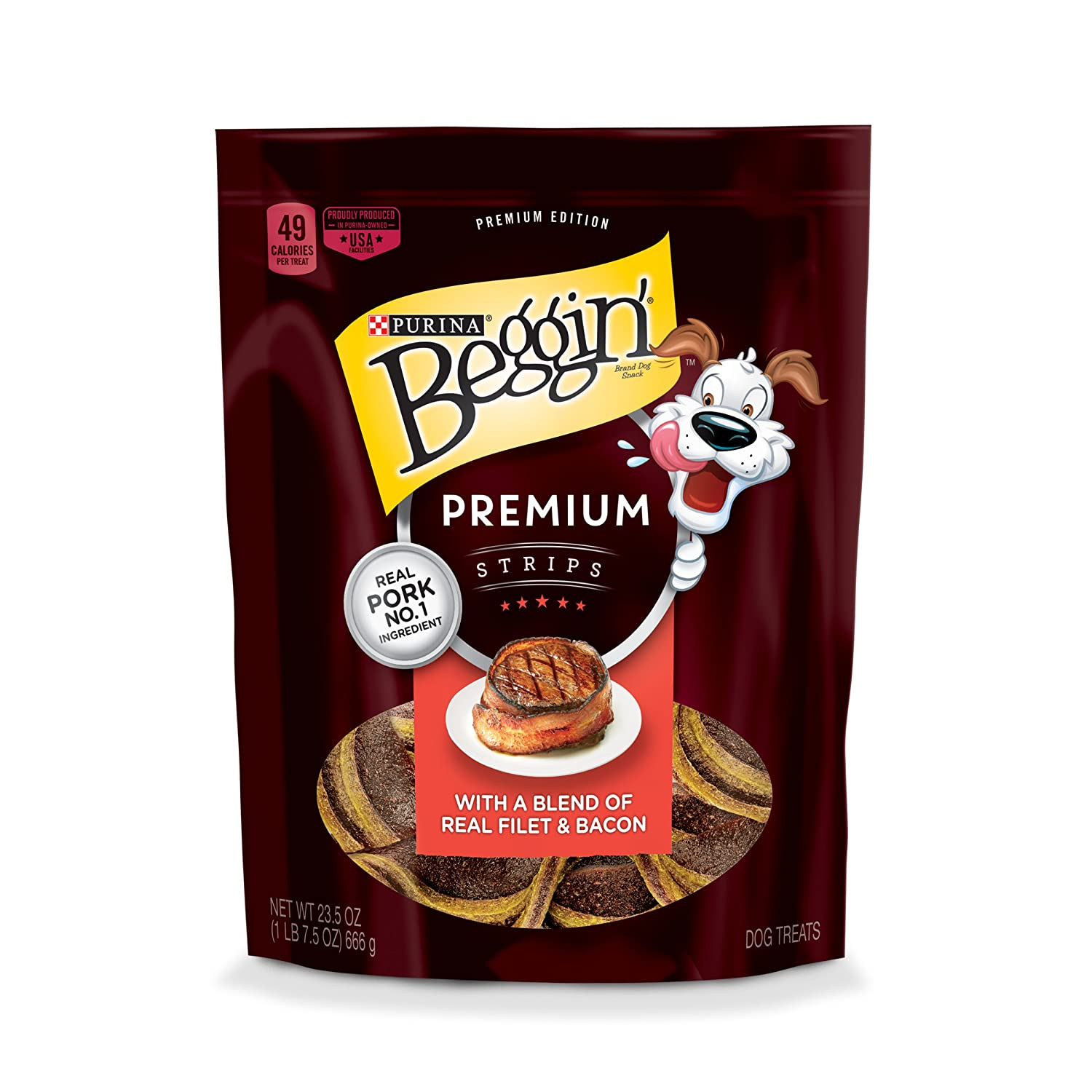 23.5 oz. Pouch Purina Beggin' Premium Strips Real Pork Dog Treats 23.5 oz. Pouch