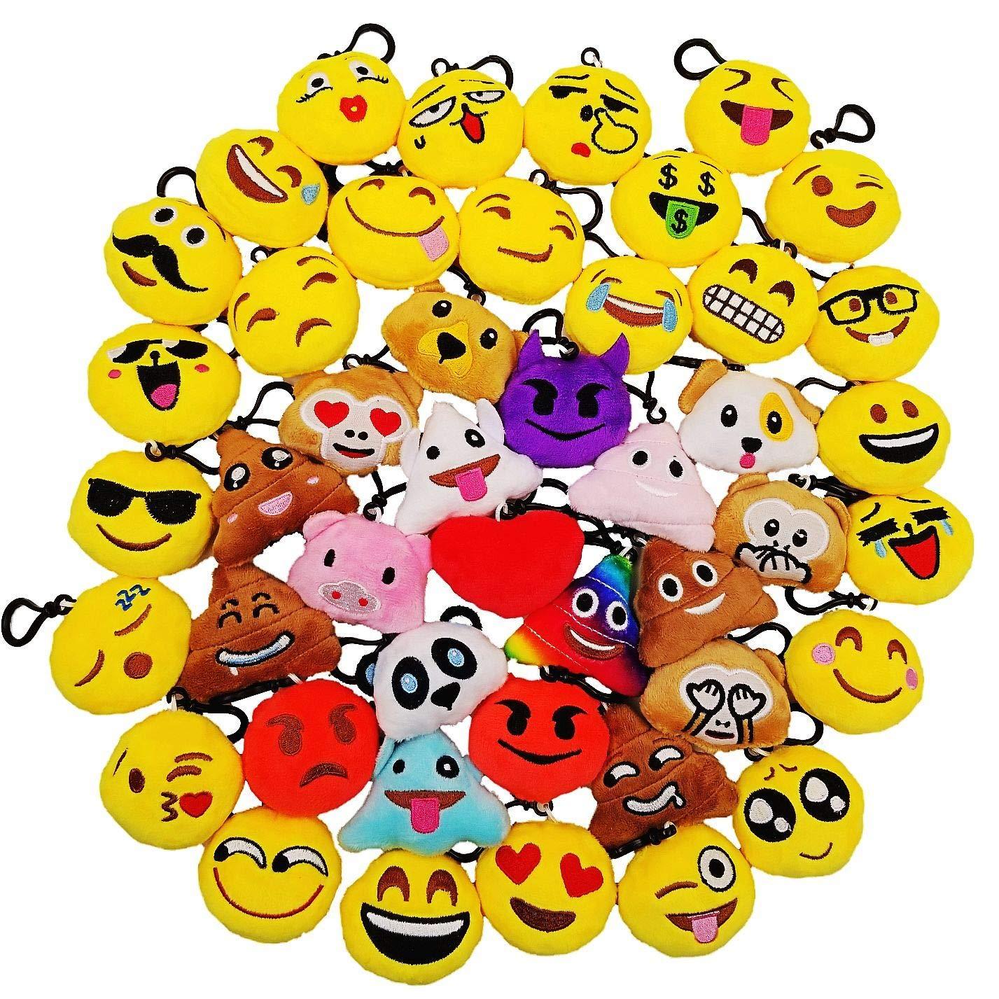 JZK 45pcs Mini Juguete de Peluche, Emoji Llavero emoticonos Llavero emoción para niños & Adulto Fiesta cumpleaños favores Rellenos Bolso Partido ...
