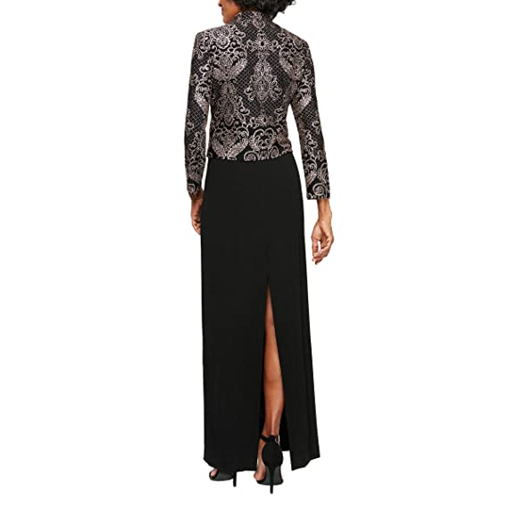 Alex Evenings Womens Plus-Size Gown and Mandarin Jacket Set