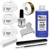 RM Beautynails - Set per manicure con 1 flacone di liquido acrilico (100 ml), 3 smalti da 20 g (trasparente, bianco, rosa cipria) e 1 primer