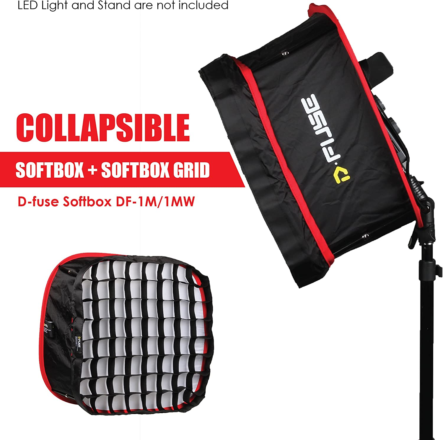 Kamerar D-Fuse Combo Large LED Light Panel Softbox /& D-Fuse Softbox Grid 12x12