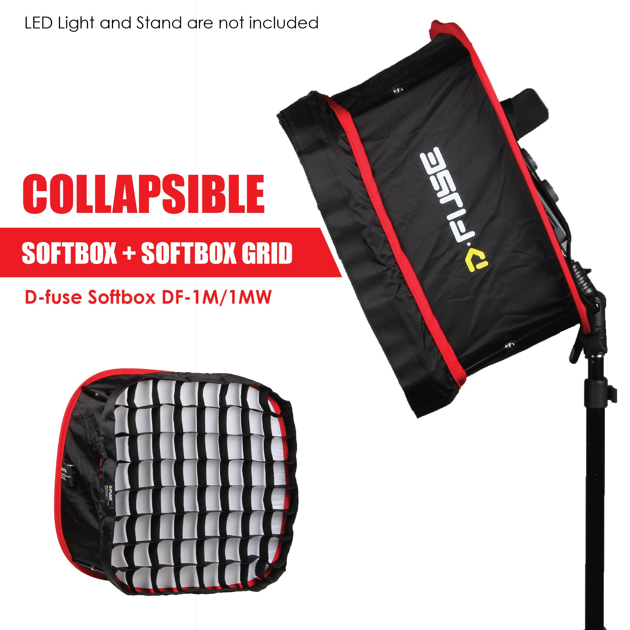Kamerar D-Fuse Combo: Medium LED Light Panel Softbox & D-Fuse Softbox Grid, 9.25''x9.25'' (DF-1M) by Kamerar (Image #3)