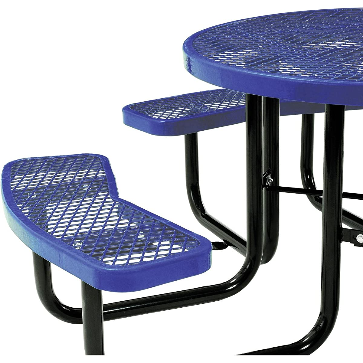 "Global Thermoplastic Coated Expanded Metal Picnic Table - 46"" Diameter - Blue - Blue"