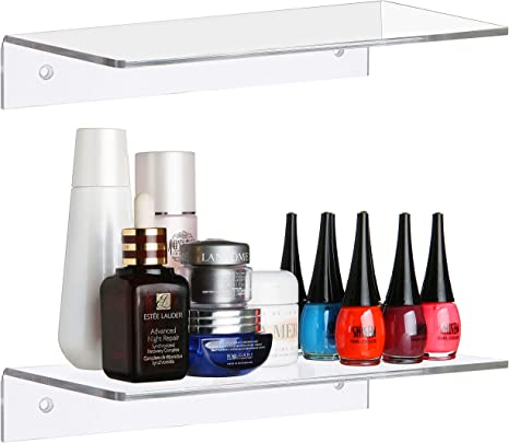 Gowfeel Floating Shelves 11.8 X 6 X 2.5 Contemporary Clear Acrylic Wall Mounted Display Organizer