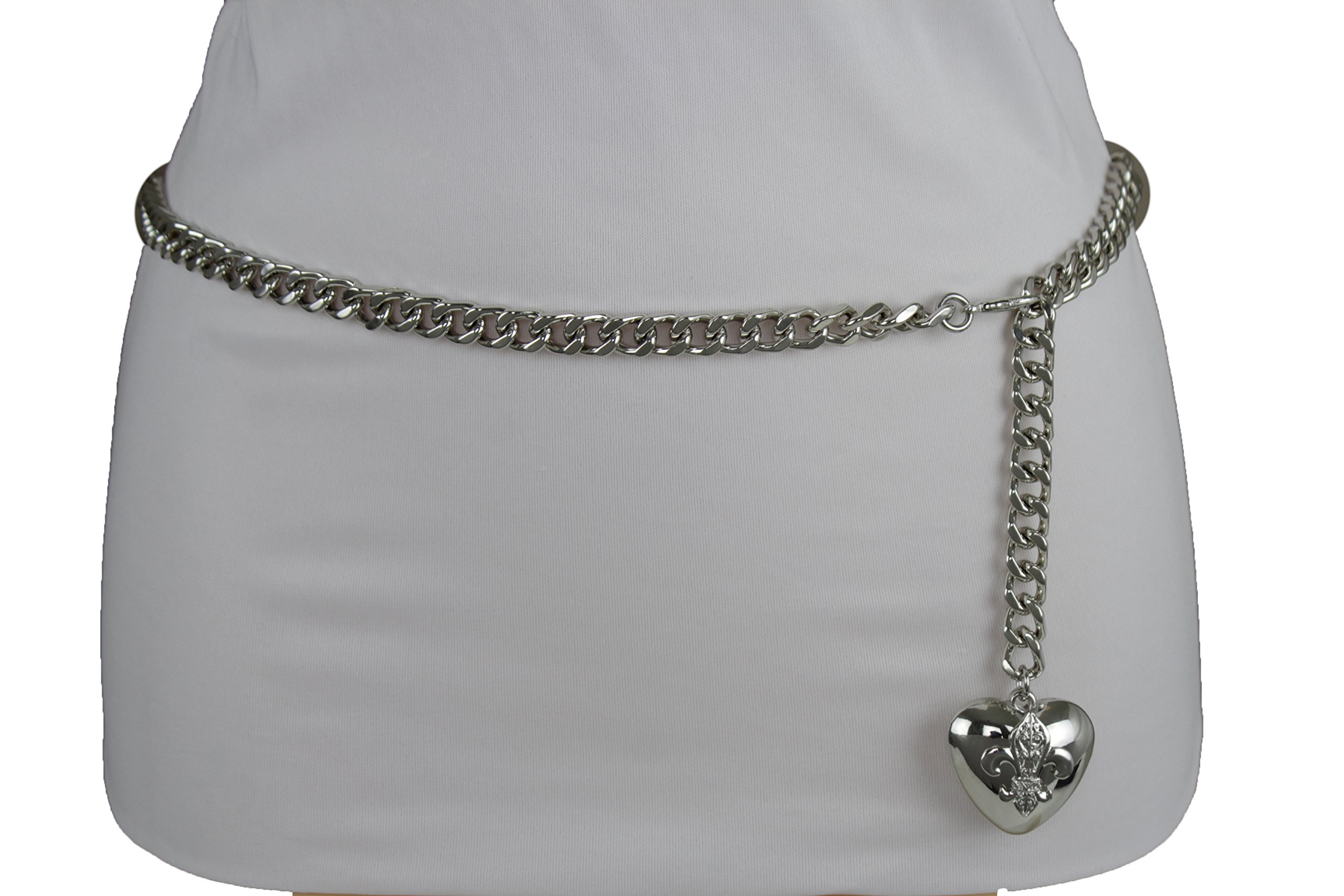 TFJ Women Fashion Skinny Belt Narrow Hip High Waist Silver Metal Chain Love Heart Buckle M L XL