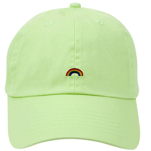 f83149b4f20 Rainbow Dad Hat Cap Rose Flower Hat Embroidered Adjustable Baseball Cap (A LIME  GREEN)