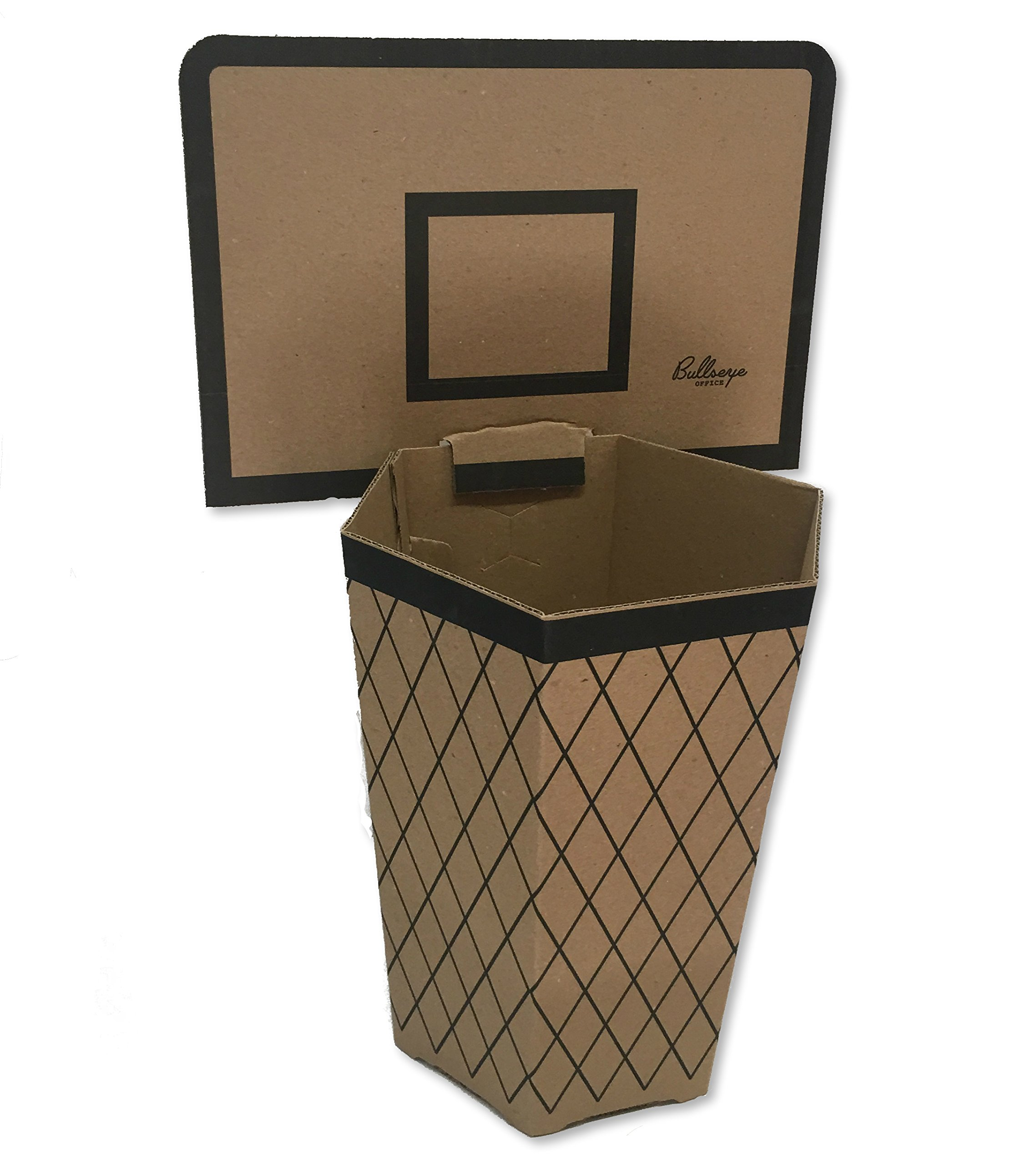 Bullseye Office Cardboard Basketball Trash Can Theme - Perfect Small Waste Basket or Bin for College Dorm, Office Desk, Bathroom, Kitchen, or Home! Fun NBA Inspired Net!