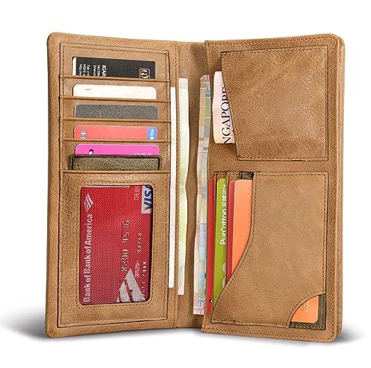 Larga cartera, icarer [100% cuero genuino] Monedero de negocios, ranura multi-tarjeta, teléfono celular compatible, con cremallera bolsillo de la moneda, ...
