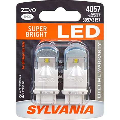 Amazon.com: SYLVANIA - 4057 ZEVO LED White Bulb - Bright LED Bulb, Ideal for Daytime Running Lights (DRL) and Back-Up/Reverse Lights (Contains 2 Bulbs): ...