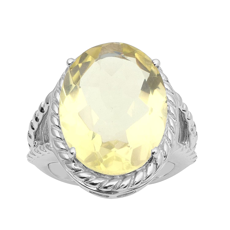 Shine Jewel Anillo de Cuarzo de limón con Forma de corazón de Plata esterlina 925 Shine Jewel Pvt. Ltd.