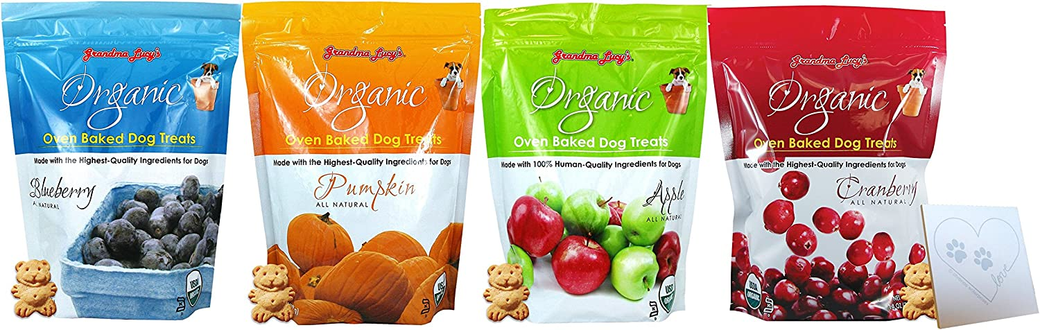 Grandma Lucy's Baked Organics GRANDMA LUCY'S Organic Baked Treat for Dogs - Four Total Flavors: Apple, Pumpkin, Blueberry, and Cranberry. (4 Bags Total, 14oz Each)