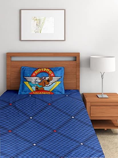 Portico New York Pure Cotton Scooby Doo Single Bed Cartoon Bedsheet For  Kids With 1 Pillow