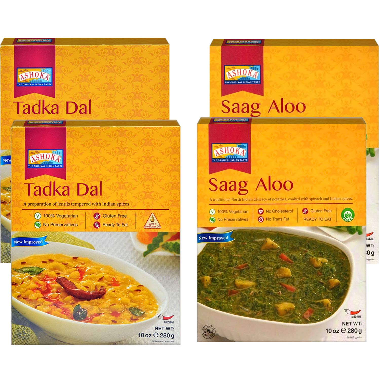 Ashoka - RTE (Combo #2), Tadka Dal & Saag Aloo (4 Pack), Ready to Eat Meals