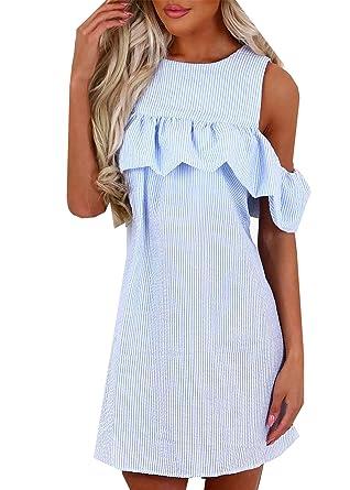 63a3ce09854 Chic Femme Volants Mini Robe Rayures Longue Tunique T-Shirt Épaules Nue  Tops Blouse Ete  Amazon.fr  Vêtements et accessoires