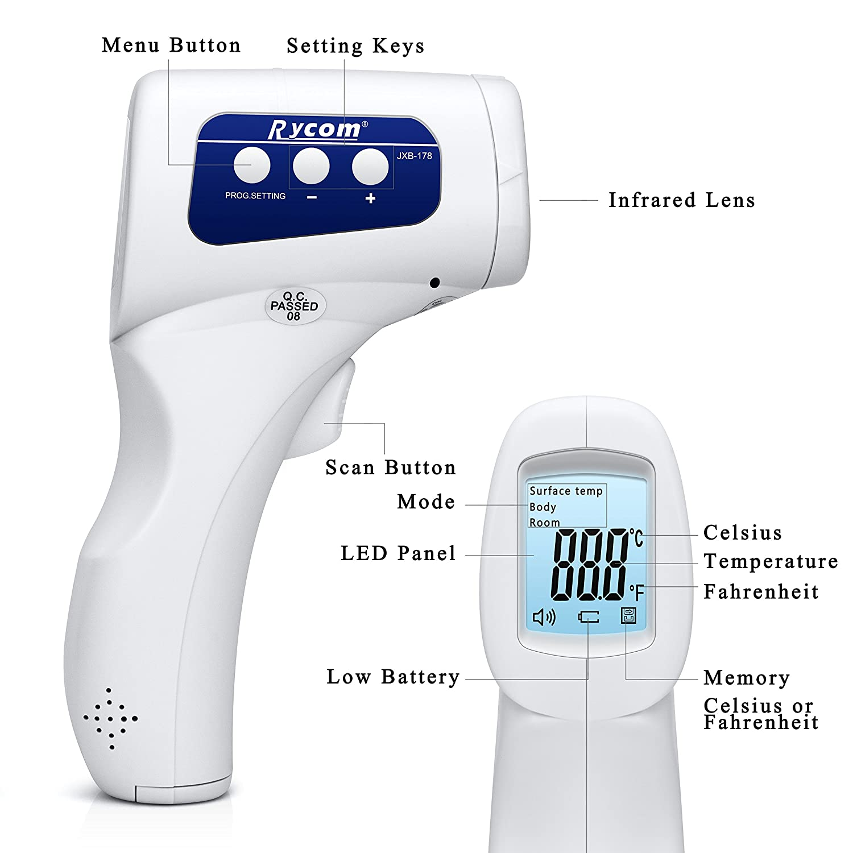 Rycom Termometro Frontale a Pistola Infrarossi Senza Contatto per Bambini con Schermo LCD 4 in 1 professionale