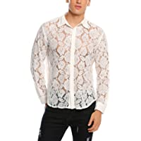 Coofandy Men's Mesh See Through Fishnet Clubwear Shirts Long Sleeve Sexy Lace Undershirts