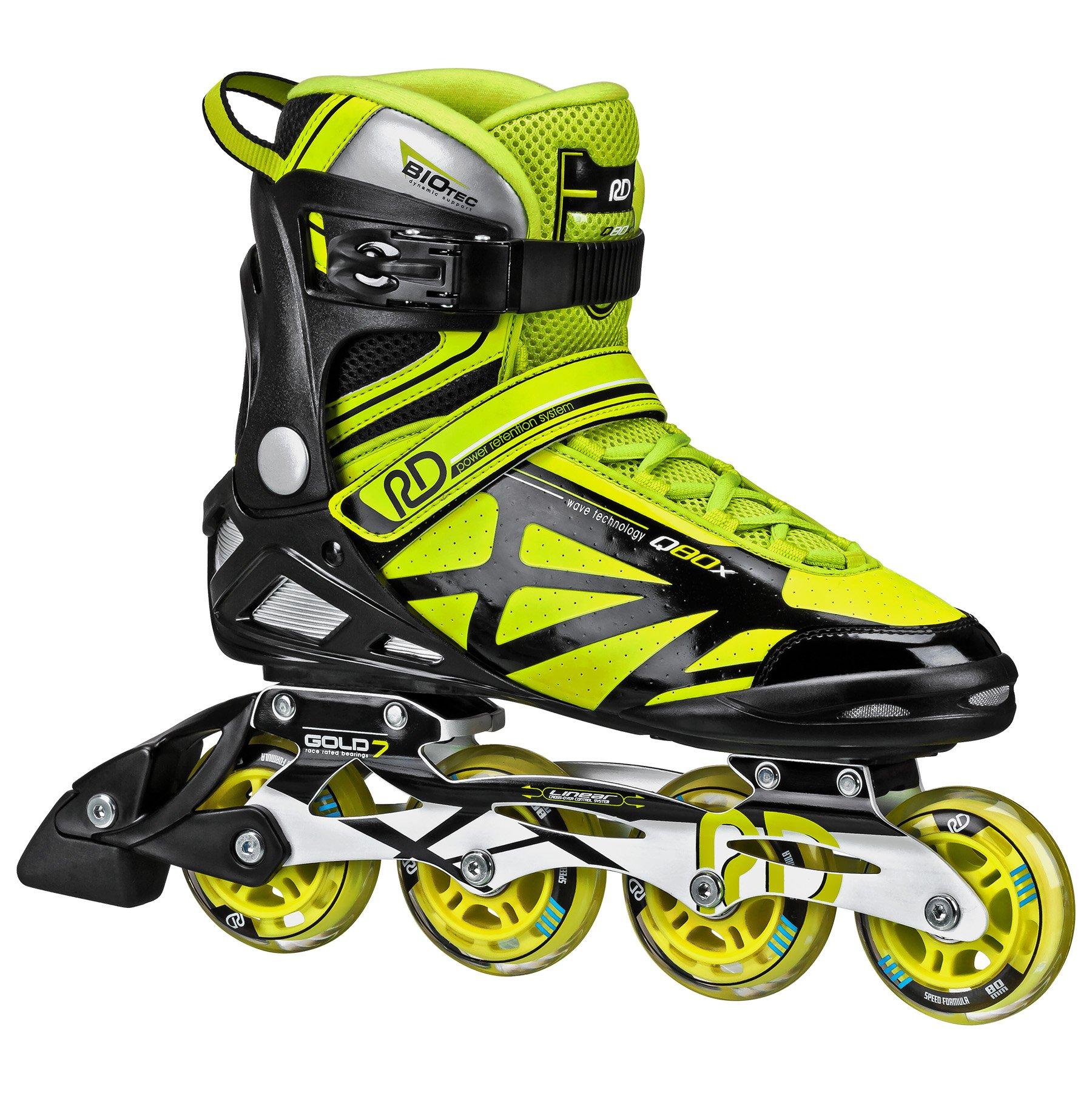 Roller Derby Aerio Q80X Mens Inline Skate, Black/Yellow, 11 by Roller Derby