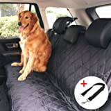 Pettom Dog Hammock Car Rear Seat Cover Waterproof Car Seat Cover for Dogs Non-slip Travel Car Seat Covers Heavy Duty Rear Seat Protector for Trucks SUVs(Black,58 X 54 Inches)