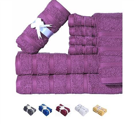 Hillfair - Juego de 6 toallas de baño de 600 g/m², 100%