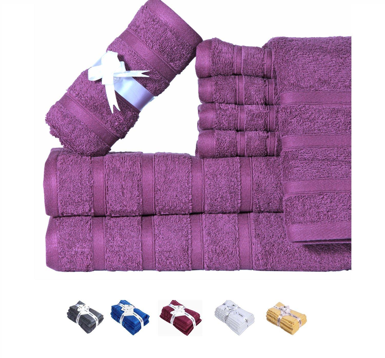 HILLFAIR 600 GSM 8-Piece 100% Long-Staple Cotton Bath Towel Set (PLUM); 2 Bath Towels, 2 Hand Towels, 4 Washcloths, Ultra soft, Spa Hotel Quality, Super Absorbent, Machine Washable