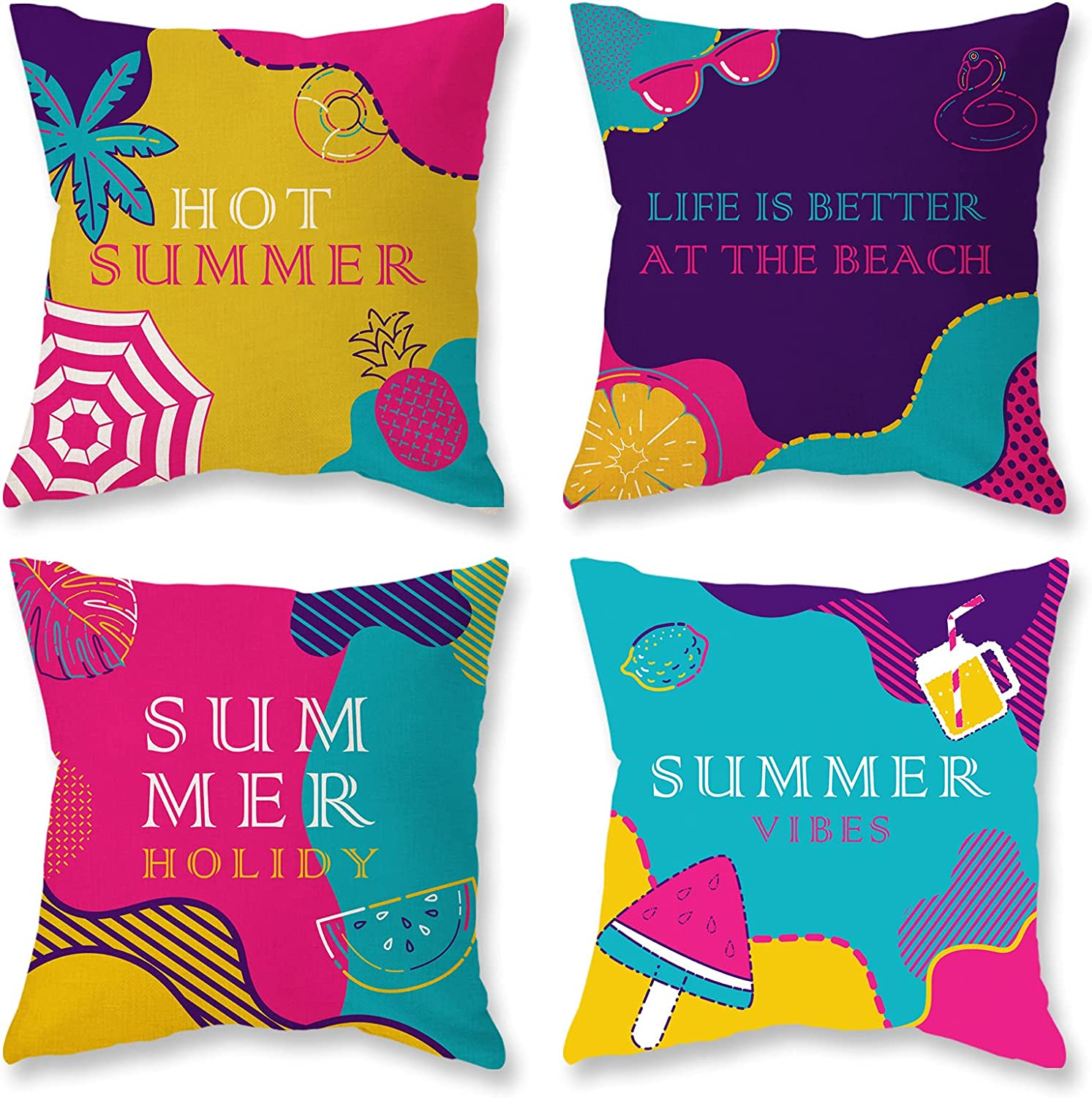 ONWAY Summer Pillow Covers 18x18 Inch Set of 4 Outdoor Decorative Throw Pillow Cases Ice Cream Pineapple Lemon Watermelon Linen Cushion Cover for Sofa, Couch, Bed and Patio Furniture
