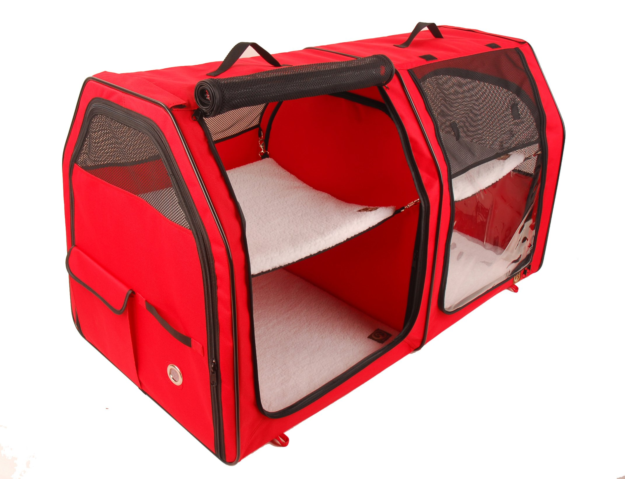One for Pets Double Cat Show House / Portable Dog Kennel / Shelter, Red, 24″x24″x42″ - Seat-belt Fixture Included
