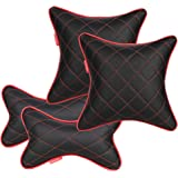 AUTOFIT Double Quilted Universal Car Cushion + Neck Rests (Black and Red) -Combo Set of 4 Pieces