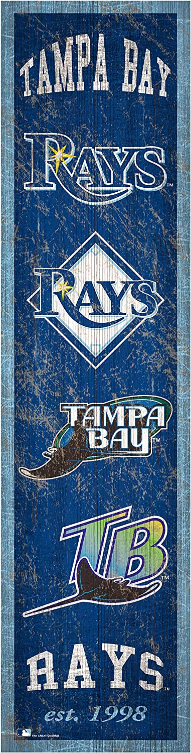 Fan Creations MLB Tampa Bay Rays Unisex Tampa Bay Rays Heritage Banner 6x24 Sign, Team, 6 x 24
