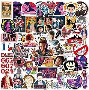 50 Pcs Cute Cartoon Waterproof Vinyl Stickers of Stranger Things for Kids Teens Boys Girls, Aesthetic Stickers Pack for Hydroflasks Computer Bicyle Car Laptop Mcbook Water Bottle Phone Bike Luggage.