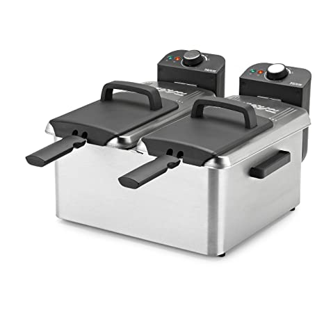 Nova Double Fryer Freidora doble 3600 W, Plateado