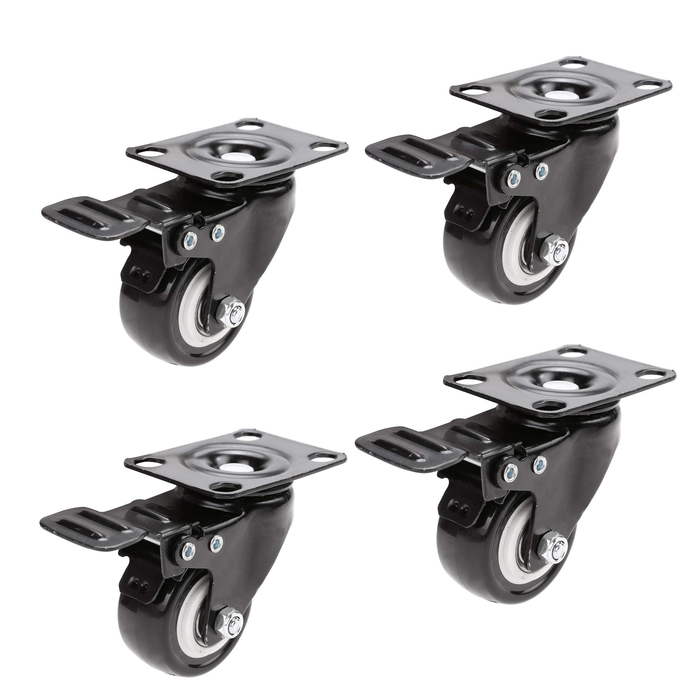 Swivel Caster Wheels with Brake, 2'' Heavy Duty Rubber Base with 360 Degree Top Plate & Bearing Pack of 4