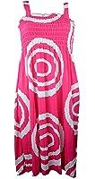 Plum Feathers Bright Silky Multi Print Smocked Bodice Sun Dress