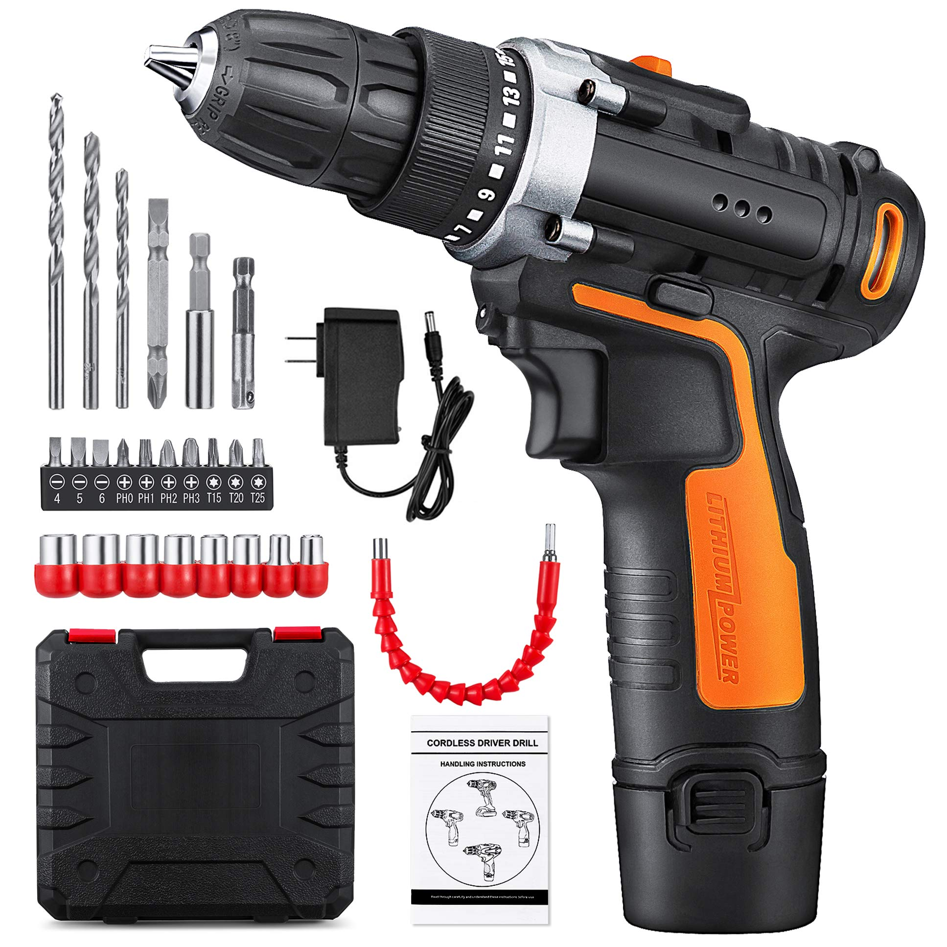 YIMALER 12V Cordless Drill Driver Set with 2.0Ah Lithium-Ion Battery, Max Torque 265 In-Lbs 2 Variable Speed 1 Hour Fast Charger 15+1 Position LED light, Drill Tool Combo Kit with 26 Accessories