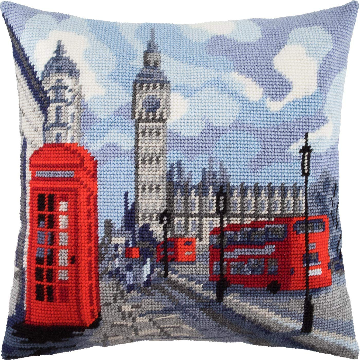 Amazon.com: London. Cross Stitch Throw Pillow Kit 16 × 16 ...