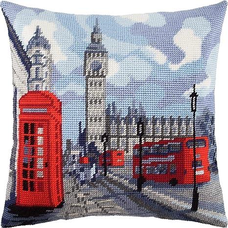 Amazon.com: London. Cross Stitch Throw Pillow Kit 16 × 16 ...