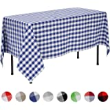 VEEYOO Rectangular Plaid Check Tablecloth Gingham 100% Cotton for Home Kitchen Party Indoor or Outdoor Use 60 x 84 inch (Seats 6 to 8 People), Navy & White