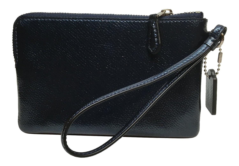 69aa269a1559 Amazon.com  Coach Crossgrain Corner Zip Wristlet Metallic Midnight Blue  F54626  Clothing