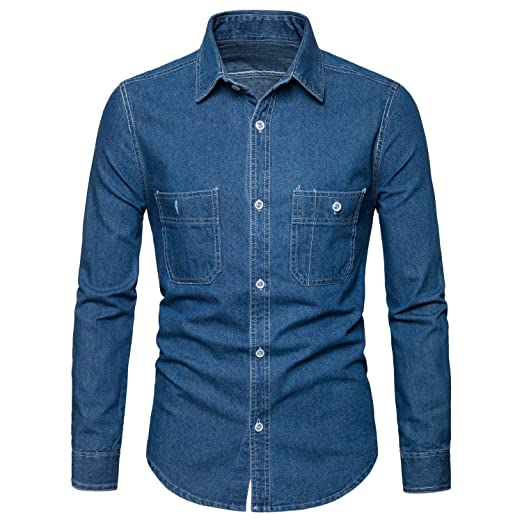 0aa698d1 AOMO LOVE Men's Long Sleeve Denim Solid Shirt Cotton Casual Double-Pocket  Shirt Blue Work Slim Fit Shirt at Amazon Men's Clothing store: