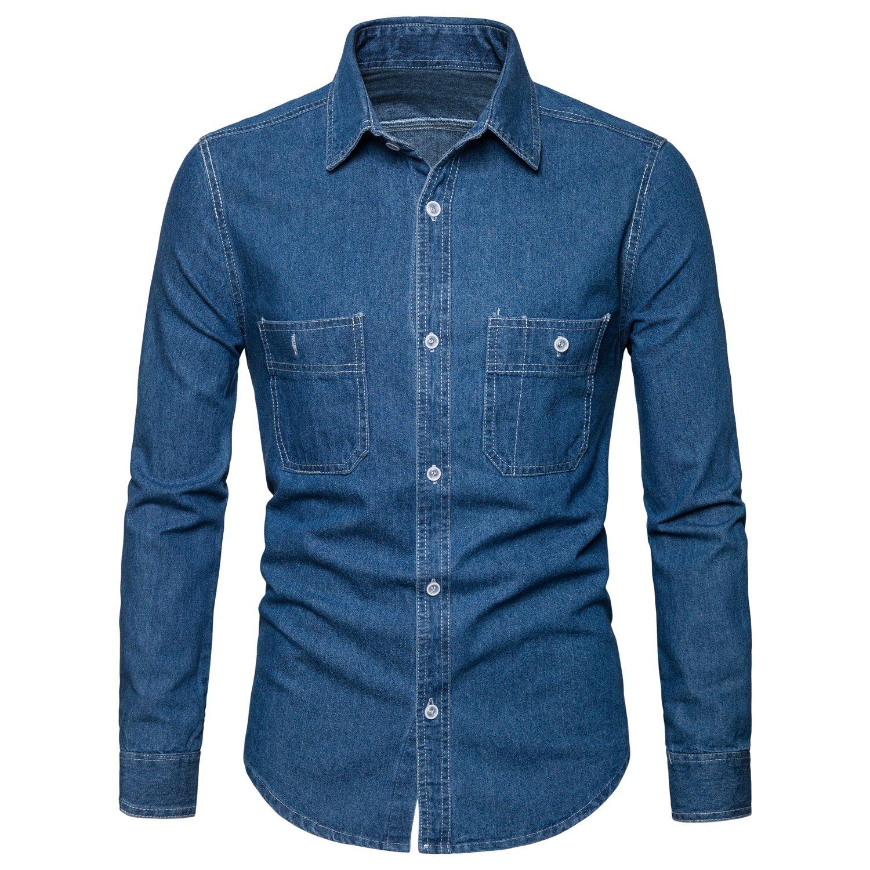 AOMO LOVE Men's Long Sleeve Denim Solid Shirt Cotton Casual Double-Pocket Shirt Blue Work Slim Fit Shirt (Light Blue, Large)