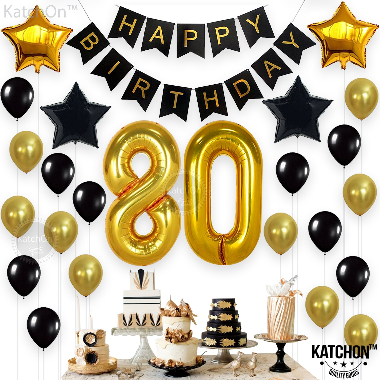 Amazon KATCHON 80th Birthday Decorations Party Supplies